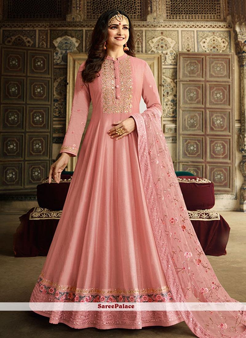Silk Pink Resham Anarkali Salwar Kameez