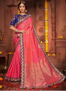 Silk Pink Resham Classic Saree