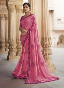 Silk Pink Reception Traditional Saree