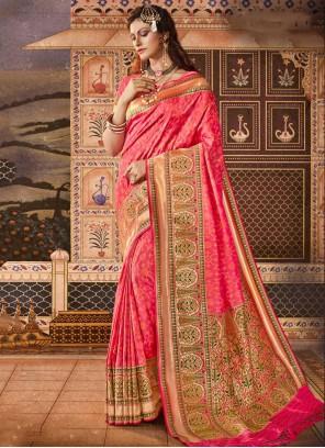 Silk Pink Weaving Classic Saree