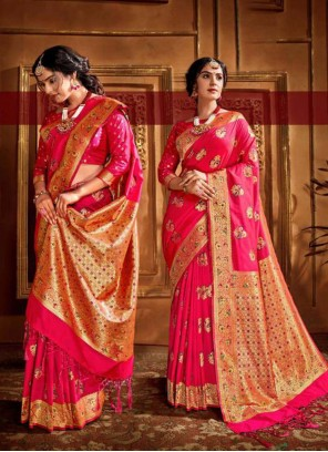 Silk Pink Weaving Traditional Designer Saree