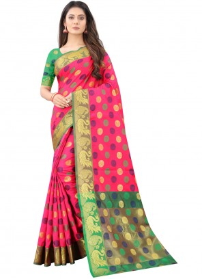 Silk Pink Weaving Traditional Designer Saree