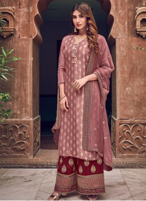 Silk Pink Woven Designer Straight Salwar Suit