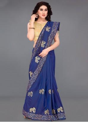 Silk Blue Printed Saree
