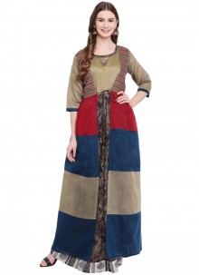 Silk Print Multi Colour Designer Gown