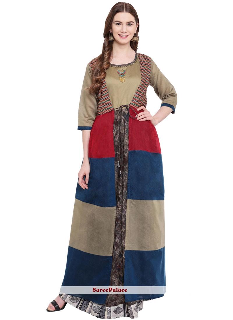 Silk Print Multi Colour Designer Gown