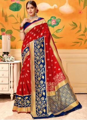Silk Print Red Classic Designer Saree