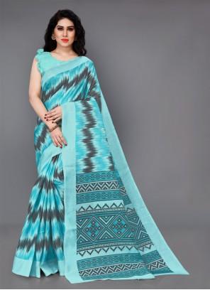Silk Printed Aqua Blue Casual Saree