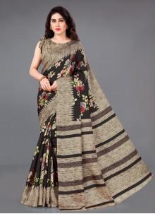 Silk Printed Beige Casual Saree