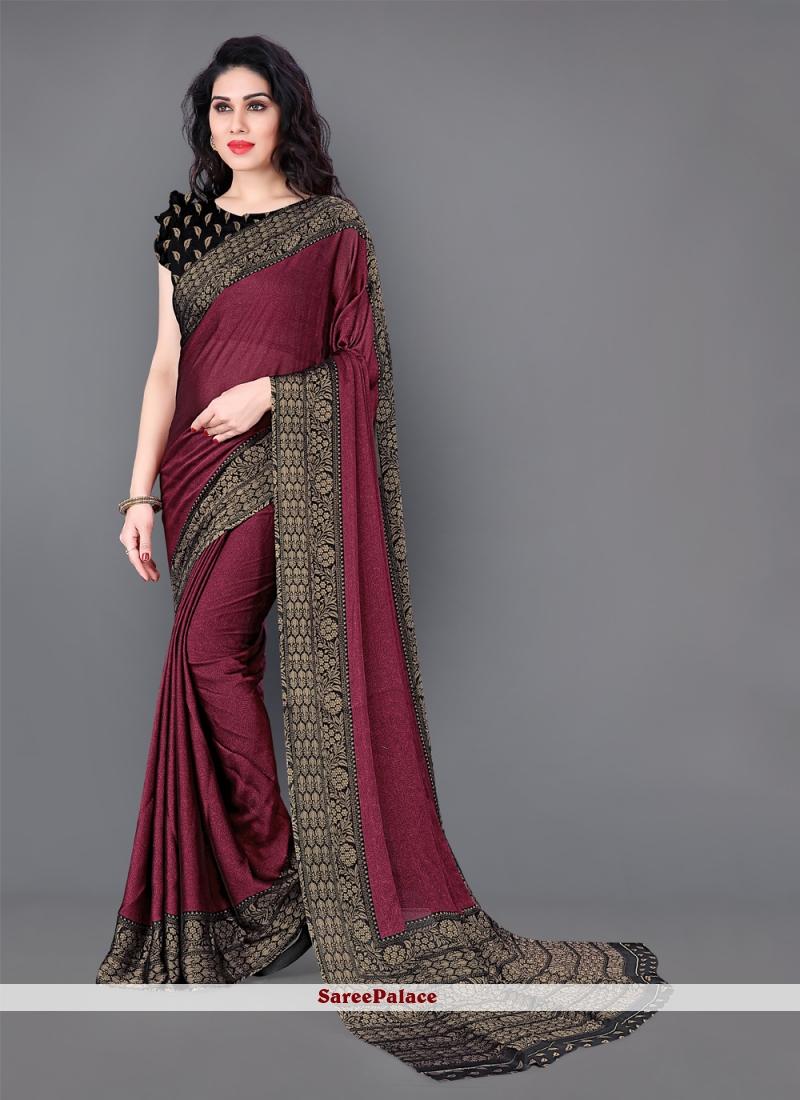 Silk Printed Maroon Casual Saree
