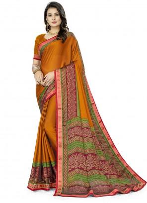 Silk Printed Casual Saree in Multi Colour