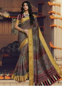 Silk Printed Classic Designer Saree in Multi Colour