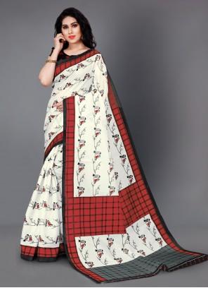 Silk Printed Contemporary White Saree