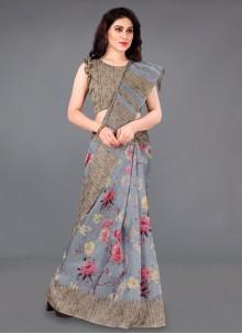 Silk Printed Grey Casual Saree