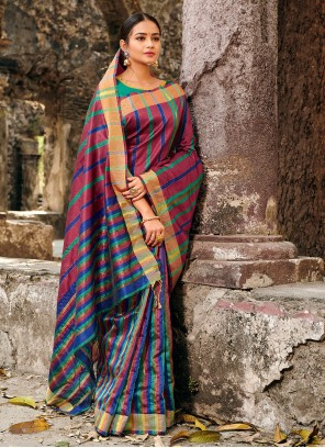 Silk Printed Multi Colour Classic Saree