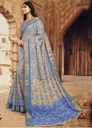 Silk Printed Multi Colour Designer Saree