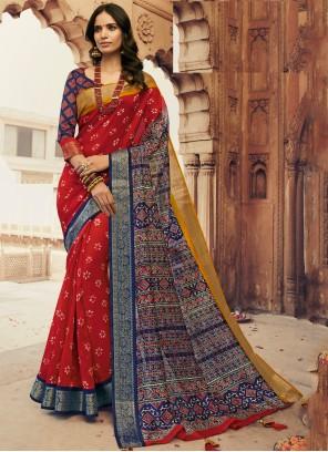 Silk Printed Multi Colour Traditional Saree