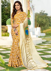 Silk Printed Saree in Multi Colour