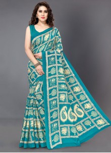 Silk Printed Silk Saree in Teal
