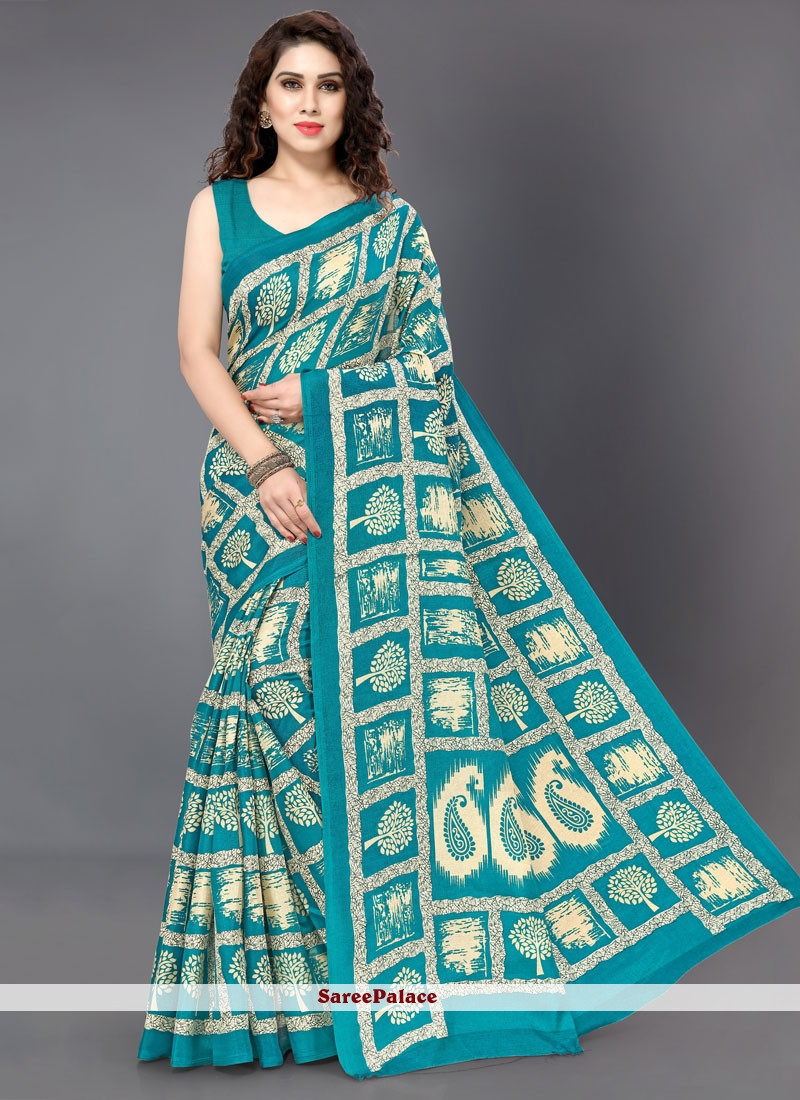 Silk Printed Silk Saree in Teal