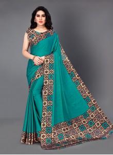 Silk Printed Teal Casual Saree