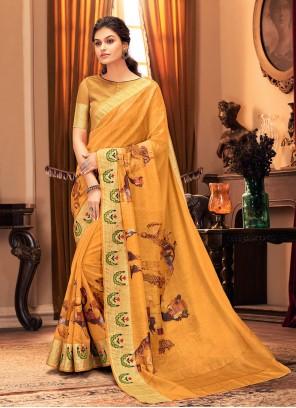 Yellow Silk Printed Traditional Saree