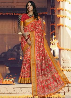 Silk Printed Traditional Saree in Multi Colour