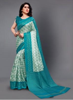 Silk Printed Turquoise Casual Saree