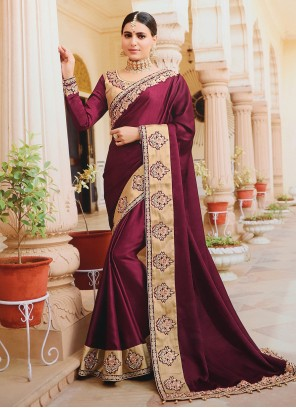 Silk Purple Embroidered Designer Bollywood Saree
