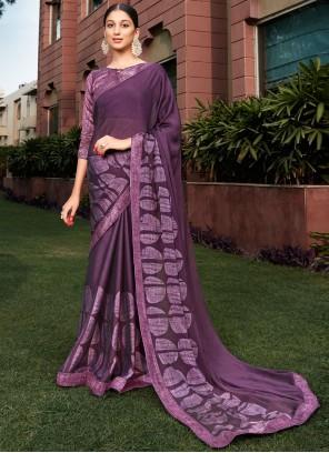Silk Purple Printed Classic Saree