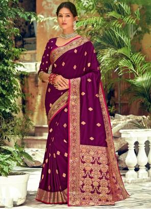 Purple Weaving Zari Silk Saree