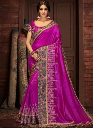 Silk Purple Traditional Saree