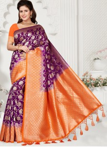 Silk Purple Weaving Traditional Saree