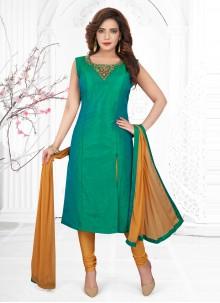 Silk Rama Churidar Designer Suit
