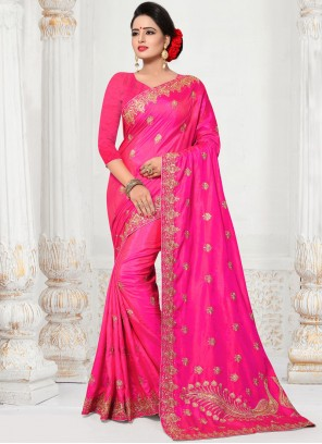 Silk Rani Embroidered Work Traditional  Saree