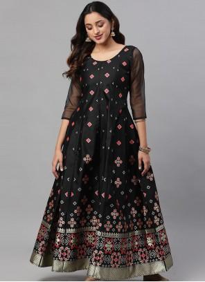 Silk Black Readymade Gown