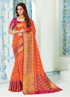 Orange Silk Reception Classic Saree