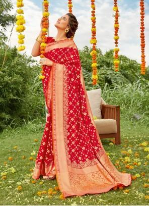 Red Silk Reception Designer Saree