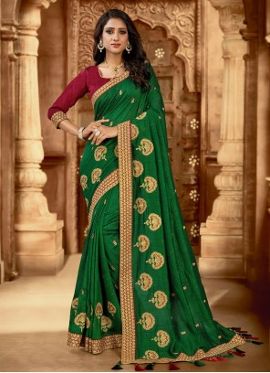 Silk Reception Green Trendy Saree