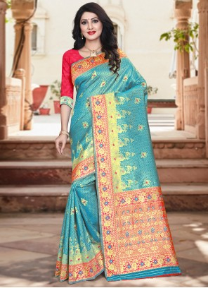 Silk Red and Turquoise Weaving Designer Traditional Saree