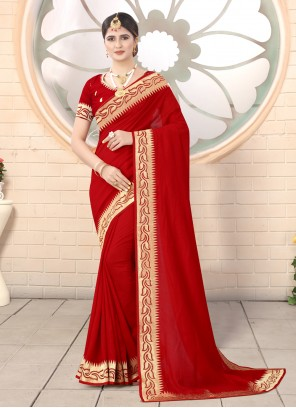 Silk Red Classic Designer Saree