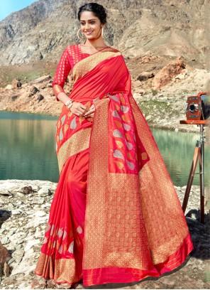 Silk Red Designer Saree