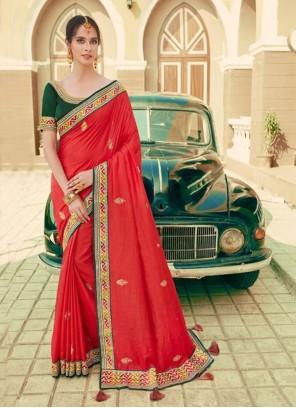 Silk Ceremonial Red Designer Saree