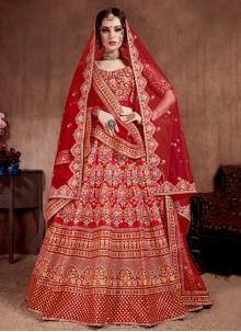 Silk Red Embroidered A Line Lehenga Choli