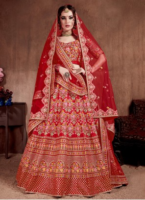 Silk Red Embroidered A Line Lehenga Choli