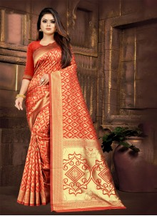 Silk Red Embroidered Classic Saree