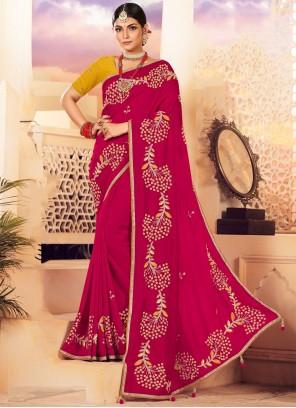 Silk Red Embroidered Designer Saree