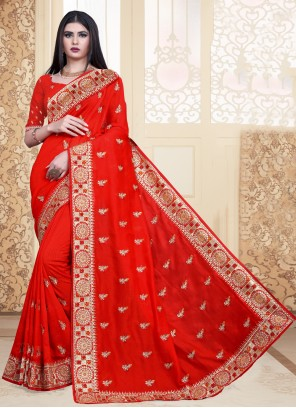 Silk Red Embroidered Trendy Saree