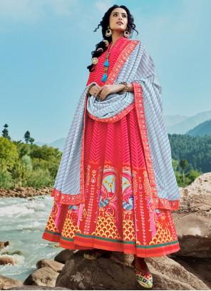 Silk Red Floor Length Anarkali Suit