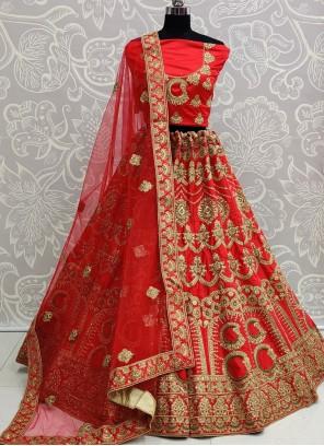 Silk Red Handwork A Line Lehenga Choli